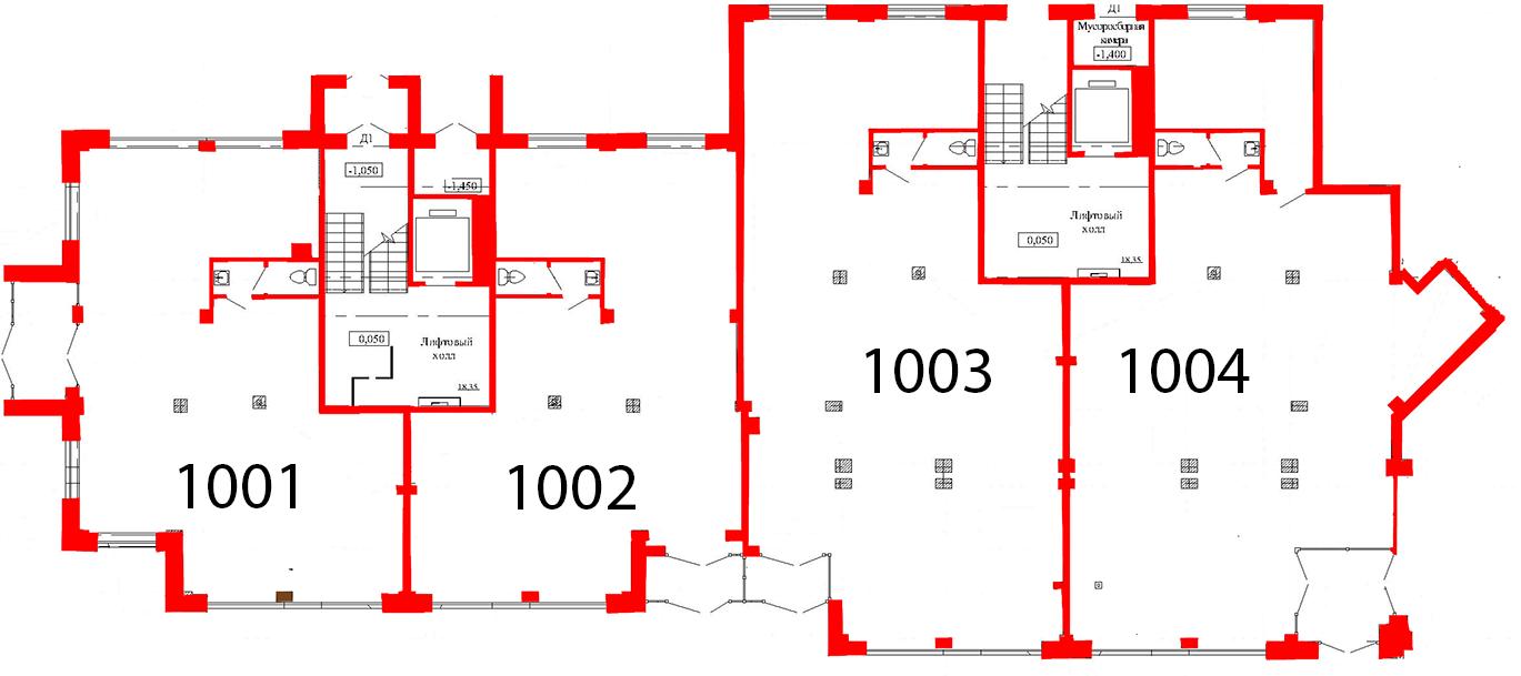 План первого этажа 1 секция