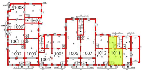 План первого этажа c выделением помещения