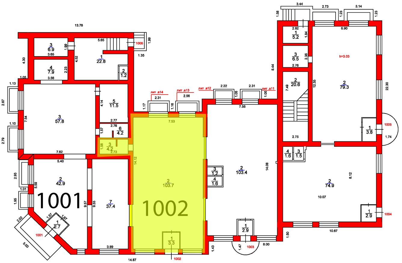 План цокольного этажа c выделением помещения