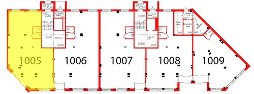 План первого этажа 1 секции c выделением помещения