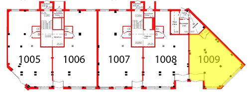 План первого этажа 2 секции c выделением помещения