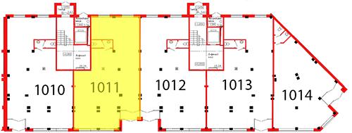 План первого этажа 3 секции c выделением помещения