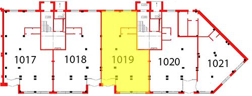План первого этажа 4 секции c выделением помещения